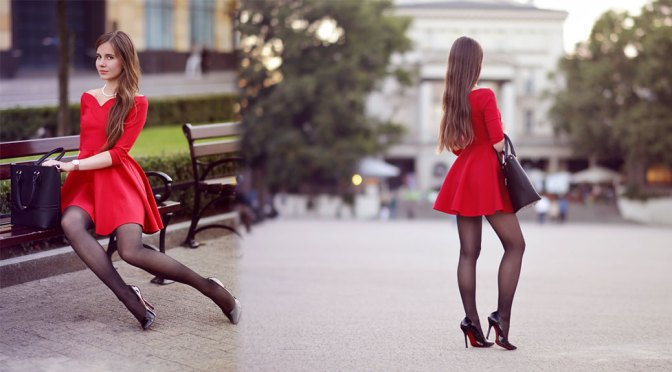 Ariadna Majewska – Sexy Red Dress and Black Thighs in Beautiful Photoshoot