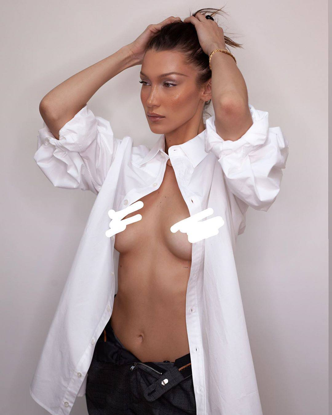 Bella Hadid Topless Censored Nipples