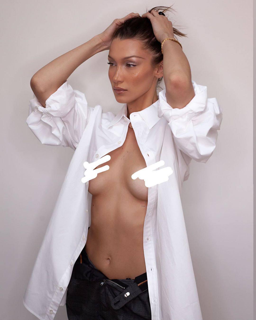 Bella Hadid Topless Censored Nipples