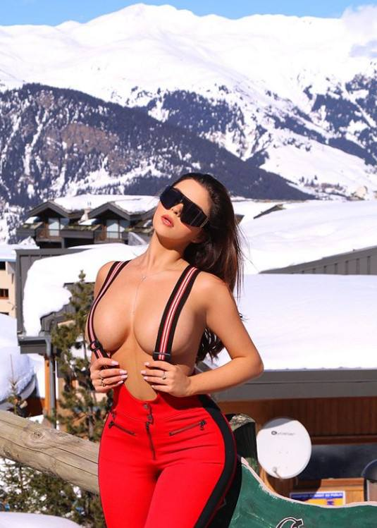Demi Rose Mawby Topless On Snow