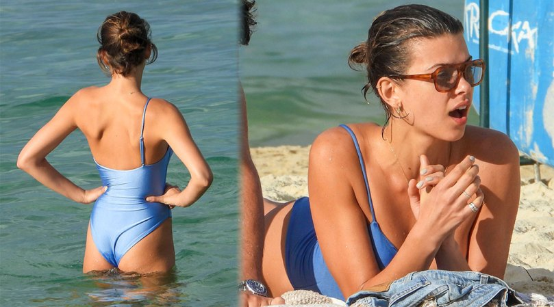 Georgia Fowler Sexy Ass And Pokies In Blue Swimsuit