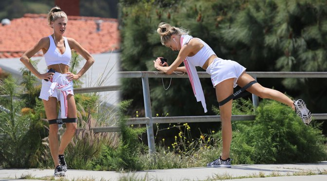 Charlotte McKinney – Hot in Shorts at workout Session in Los Angeles