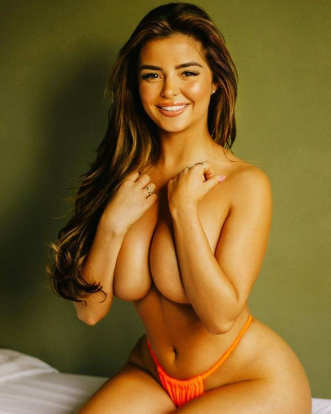 Demi Rose Mawby Topless Covered Tits