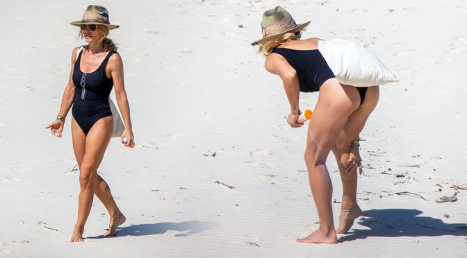 Elsa Pataky – Sexy Ass in Black Swimsuit on a Beach in Byron Bay