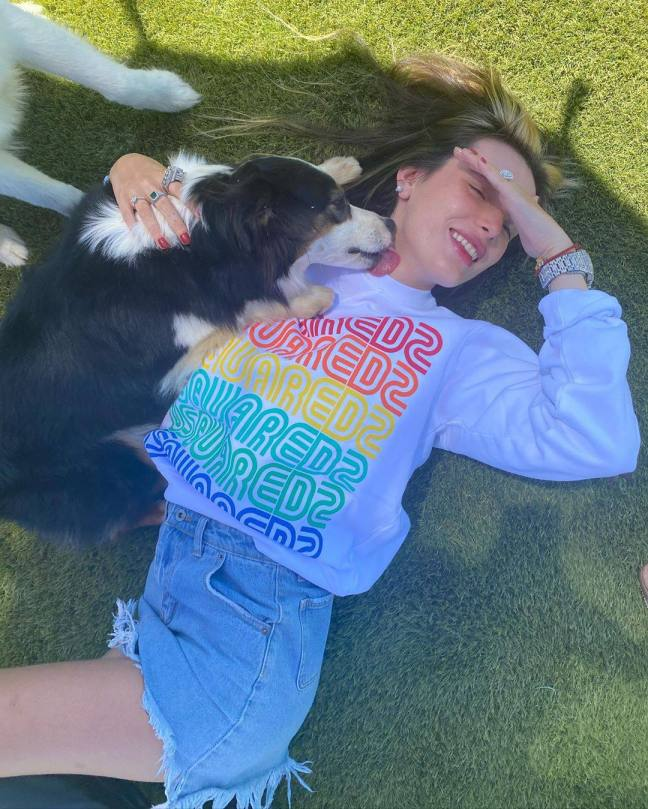 Bella Thorne Licked By Dog
