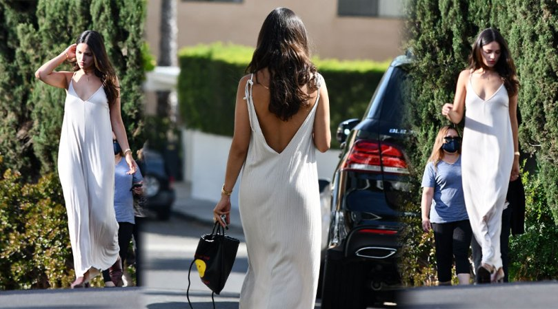 Eiza Gonzalez Braless In White Dress
