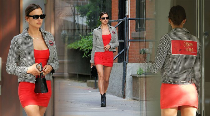 Irina Shayk – Sexy Legs in Short Red Dress Out in New York