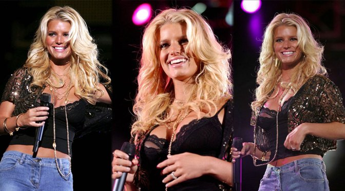 Jessica Simpson – Big Boobs and Sexy Nipslip at Wango Tango in Pasadena (2004)