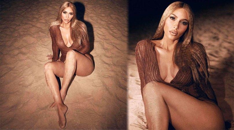 Kim Kardashian Hot Legs And Braless Breasts