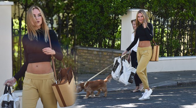 Kimberley Garner – Sexy Tummy in Cropped Top out in London