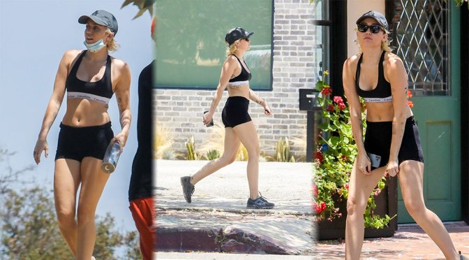 Miley Cyrus – Sexy Fit Body in Shorts and Sports Bra Out in Los Angeles