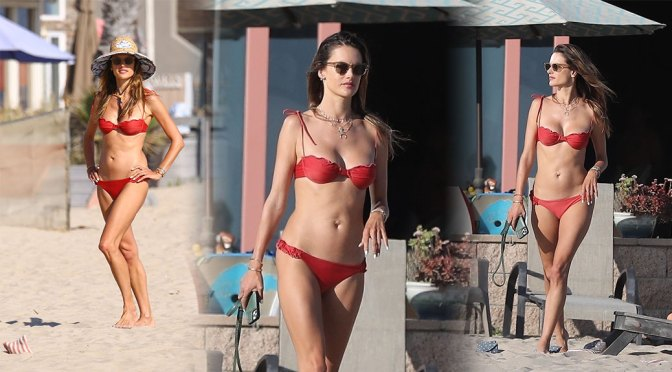 Alessandra Ambrosio – Hot Body in a Tiny Red Bikini on the Beach in Marina del Rey