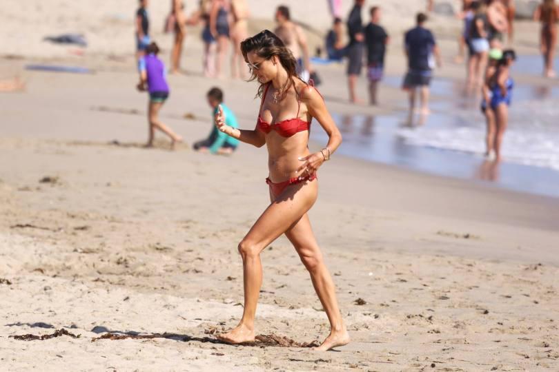 Alessandra Ambrosio Tiny Red Bikini