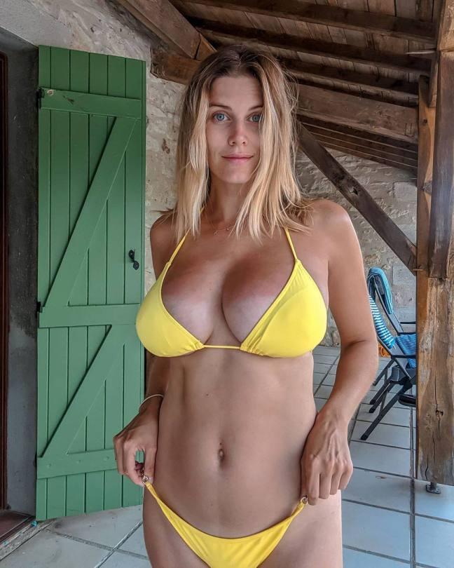 Ashley James Big Boobs In Yellow Bikini