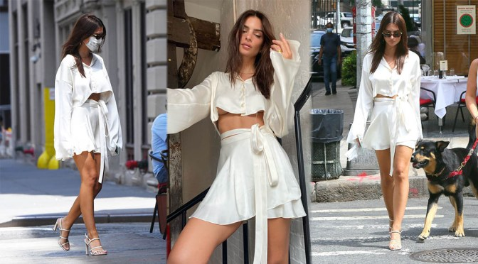 Emily Ratajkowski – Braless and Leggy in a White Mini Skirt Out in New York