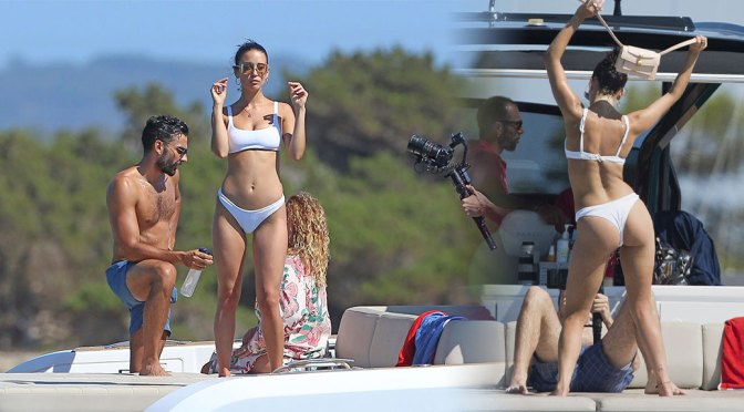 Maria Pedraza – Hot Body in White Bikini on a Yacht in Formentera