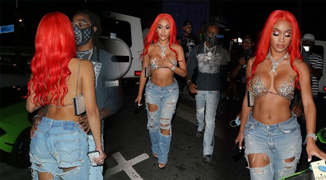 Saweetie – Big Sexy Breasts in Bra Top at BOA Steakhouse in West Hollywood