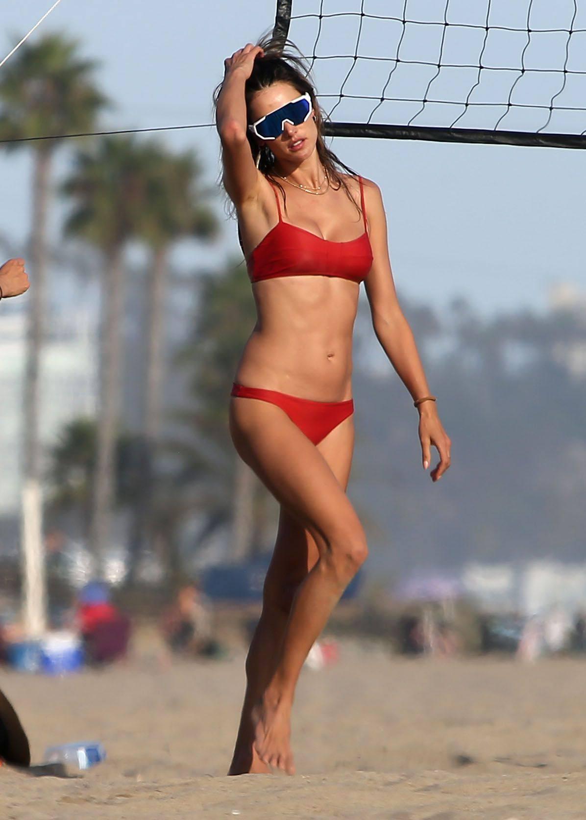 Alessandra Ambrosio Red Bikini