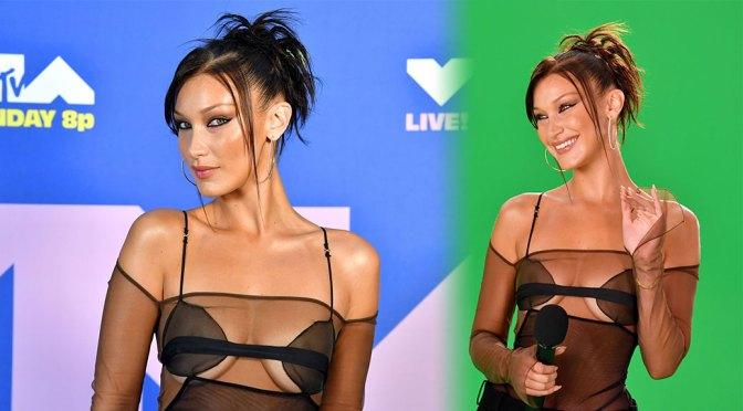 Bella Hadid – Sexy Nipples in See-Through Top at 2020 MTV Video Music Awards