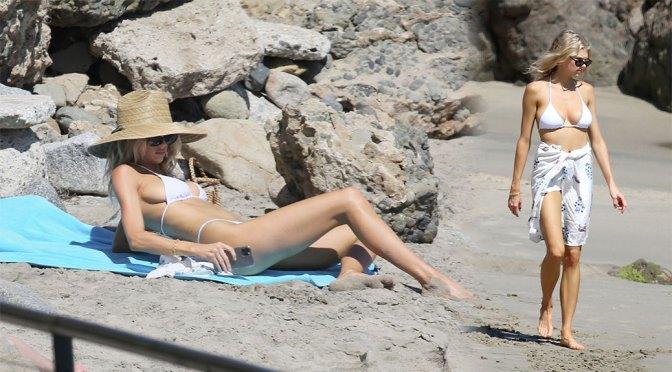 Charlotte McKinney – Big Breasts in Small White Bikini on the Beach in Los Angeles