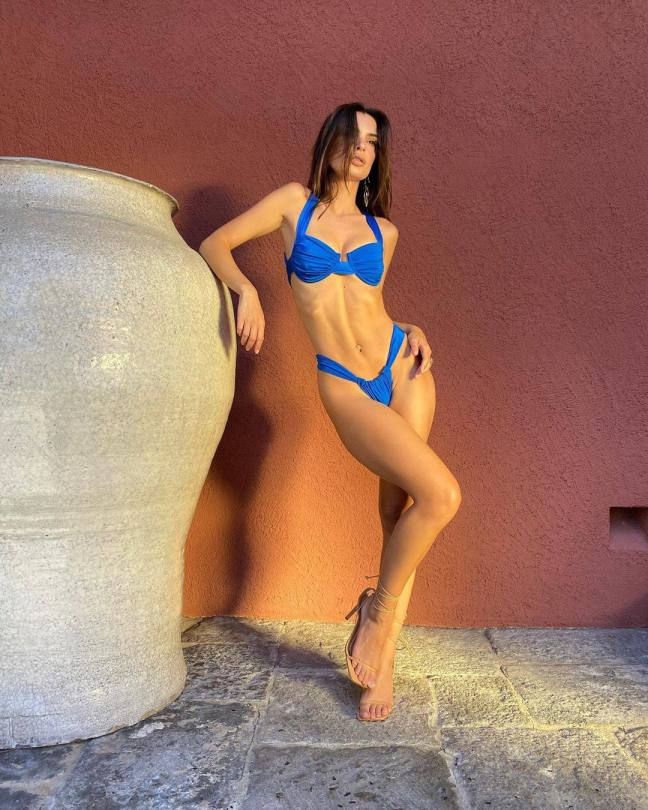 Emily Ratajkowski Hot Body In Small Blue Bikini