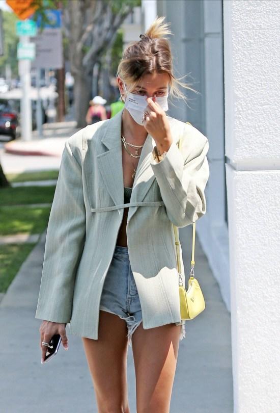 Hailey Bieber Sexy In Denim Shorts