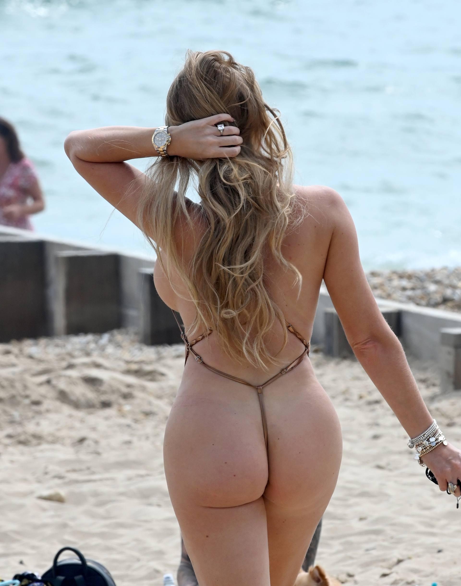Aisleyne Horgan-Wallace - Big Ass in Tiny G-String Bikini on the Beach in Bournemouth