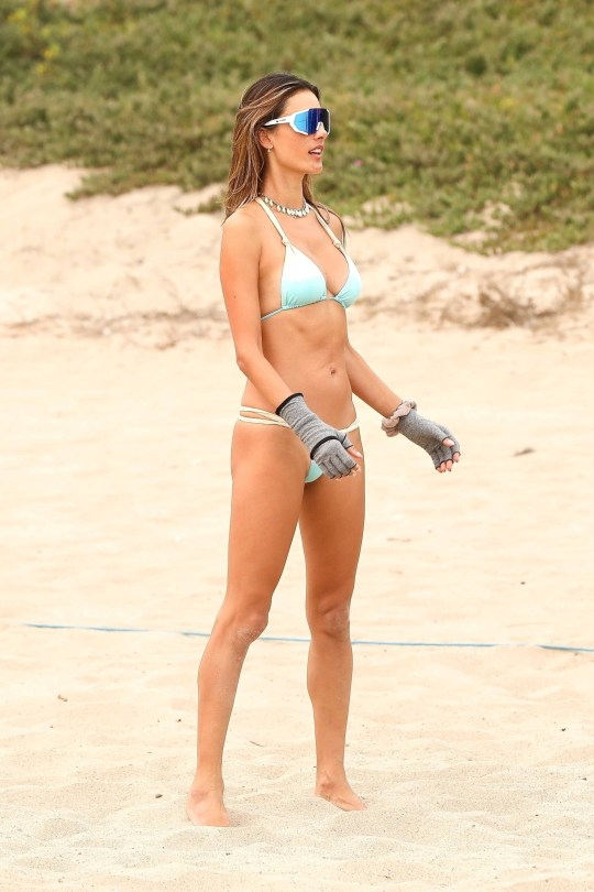 Alessandra Ambrosio - Hot Body in Small BIkini on the Beach in Malibu