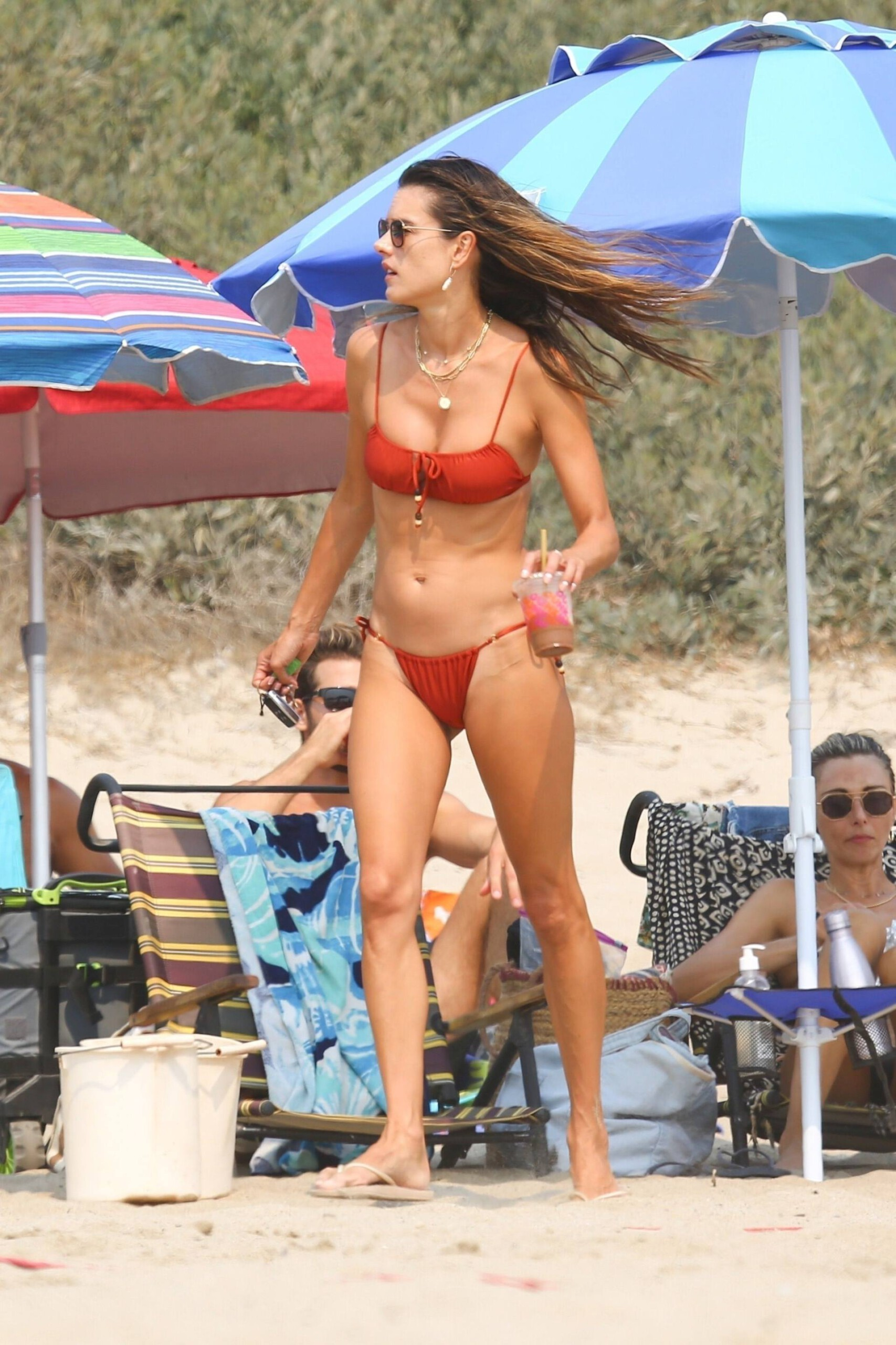 Alessandra Ambrosio - Sexy Body in a Tiny Red Bikini at the Beach in Malibu