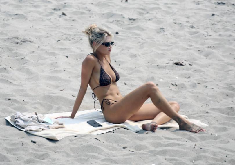 Charlotte McKinney - Fantastic Boobs in Small Black Bikini on the Beach in Malibu
