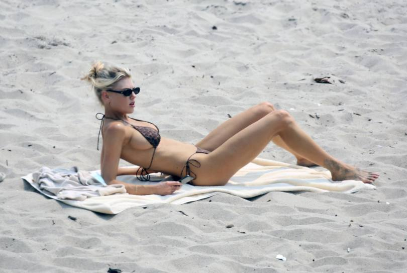 Charlotte McKinney - Fantastic Boobs in Small Black Bikini on the Beach in Malibu