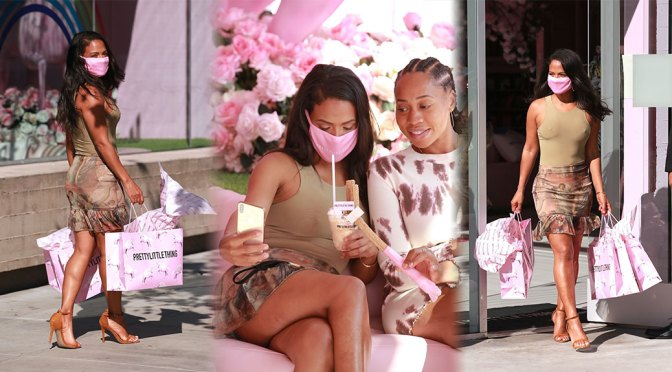 Christina Milian – Braless and Leggy at Pretty Little Things in West Hollywood