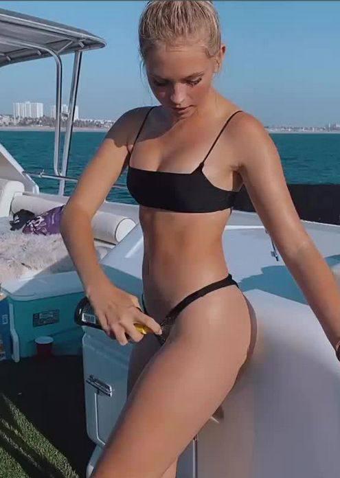 Jordyn Jones Tiny Black Bikini