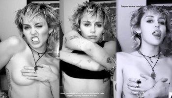 Miley Cyrus Topless Hand Bra