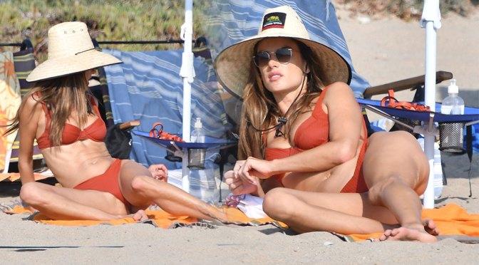 Alessandra Ambrosio – Beautiful Boobs and Body in Red BIkini on the Beach in Santa Monica