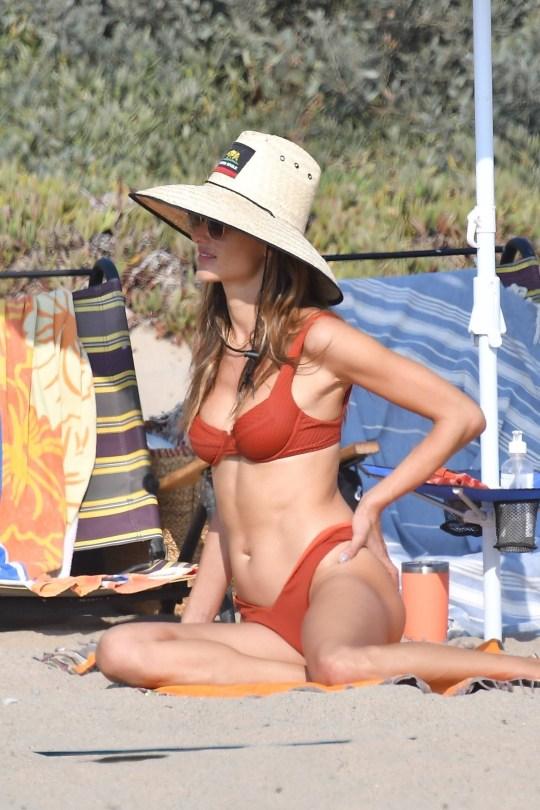 Alessandra Ambrosio In Red Bikini