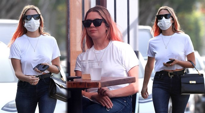 Ashley Benson – Sexy Braless Pokies Out in West Hollywood