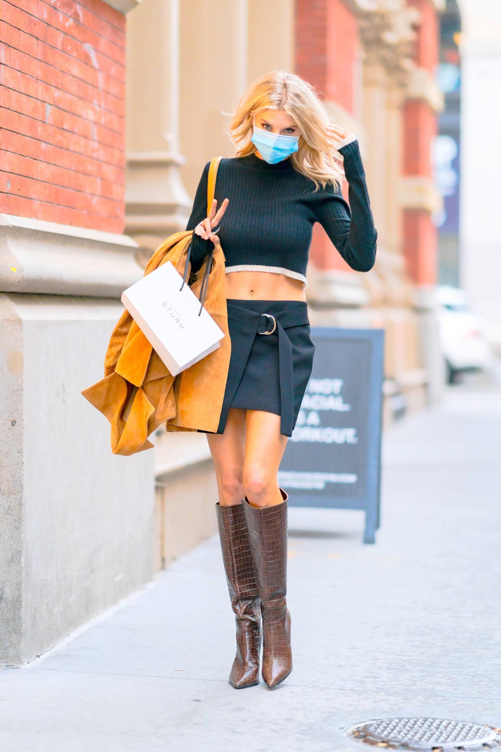 Charlotte Mckinney Sexy Mini Skirt
