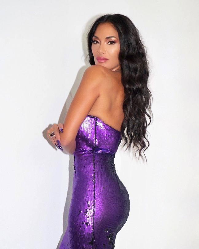 Nicole Scherzinger Sexy Purple Dress