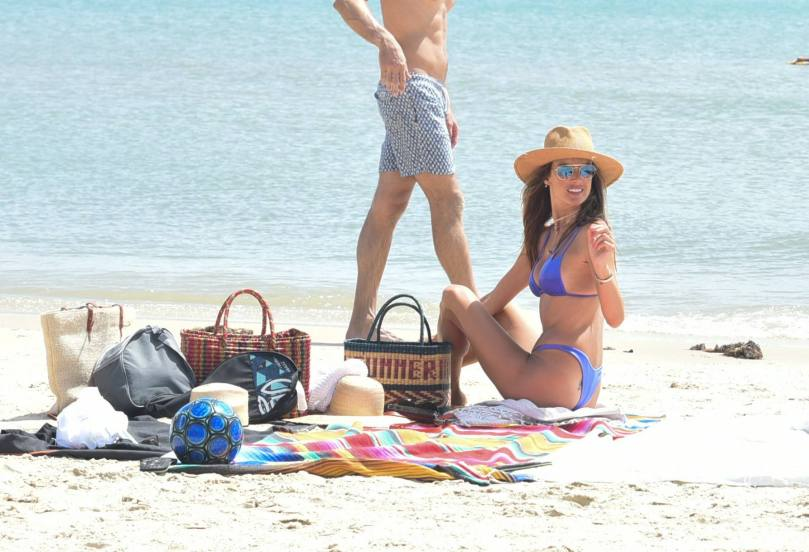 Alessandra Ambrosio Tiny Blue Bikini