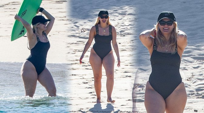 Bebe Rexha – Big Sexy Ass in a Black Swimsuit on a Beach in Cabo San Lucas