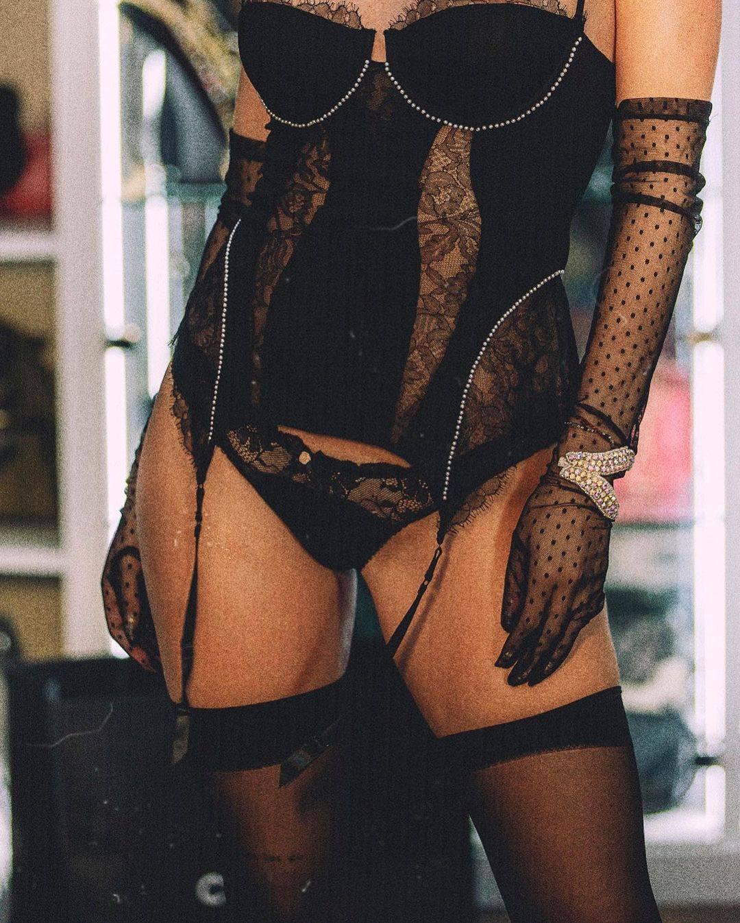 Bella Thorne Black Lingerie