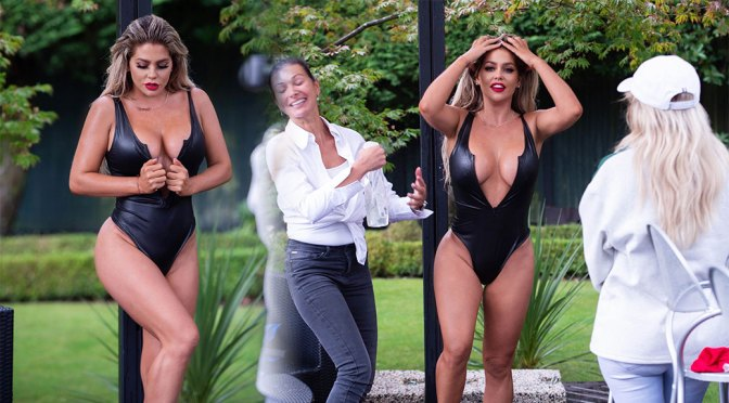 Bianca Gascoigne – Fantastic Boobs in Sexy Black Swimsuit Photoshoot