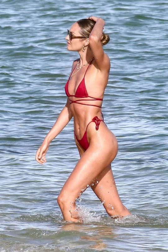 Candice Swanepoel - Fantastic Ass in a Tiny Red Bikini at the Beach in Miami Beach
