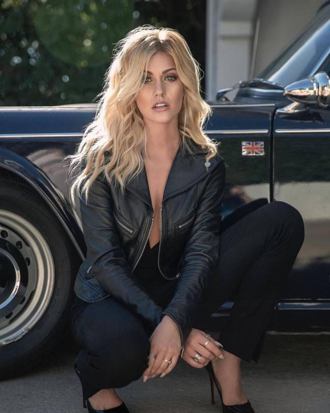 Katherine Mcnamara Beautiful In Leather Jacket