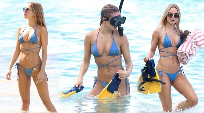 Kimberley Garner – Sexy Boobs in a Tiny Blue Bikini at the Beach in Barbados