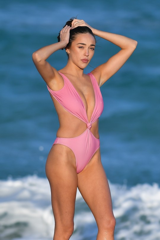 Exclusive: Sophia Culpo Wears A Pink Swimsuit In Miami,florida.