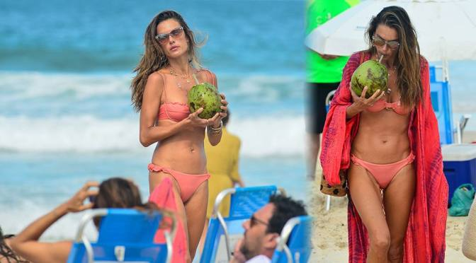 Alessandra Ambrosio – Sexy Body in a Tiny Pink Bikini on the Beach in Florianopolis