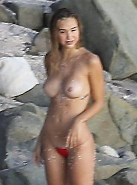 Alexis Ren Topless On Beach