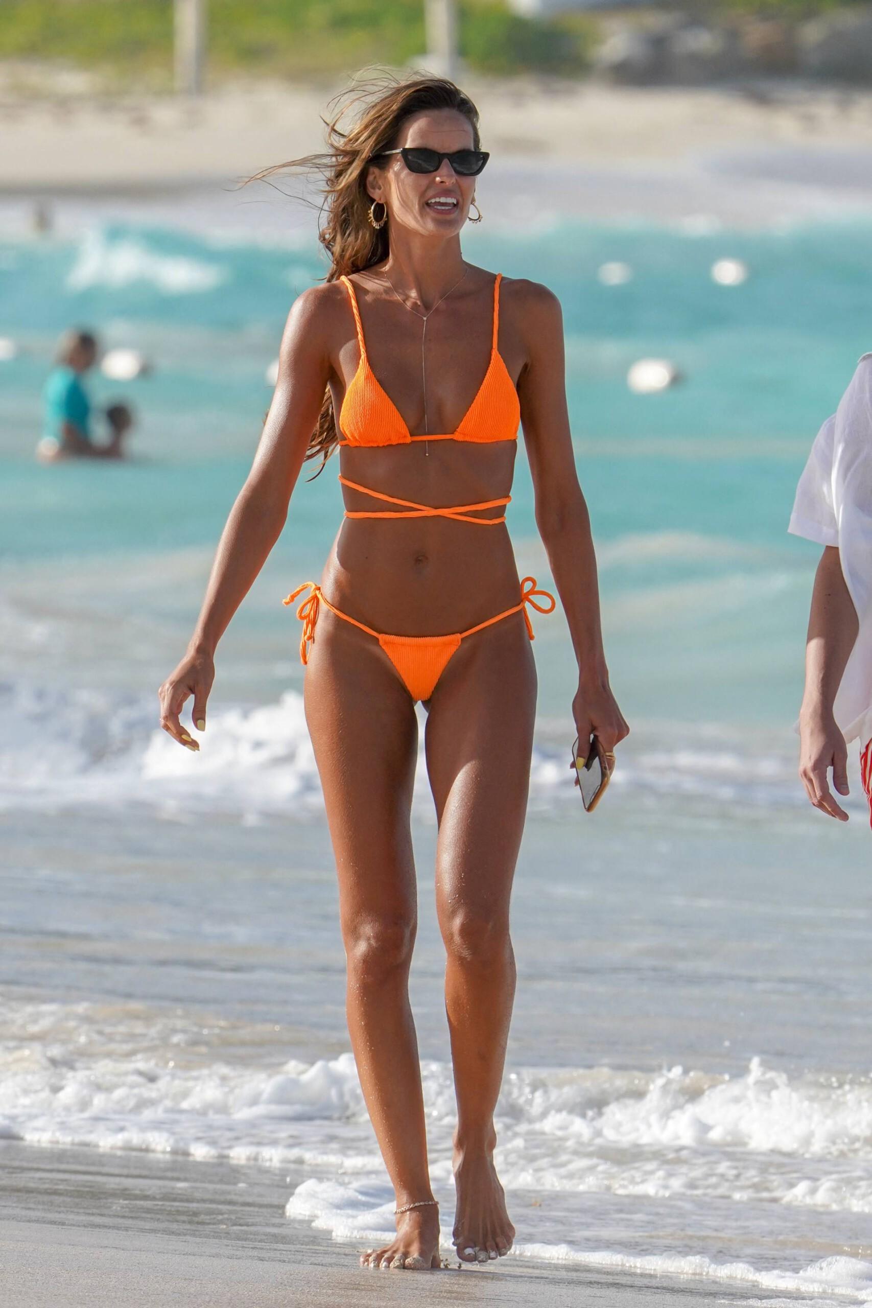 Izabel Goulart In Small Oragne Bikini